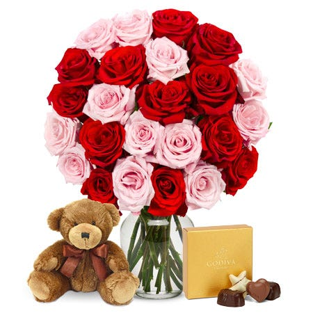 Two Dozen Red & Pink Roses with Godiva Chocolates & Teddy Bear