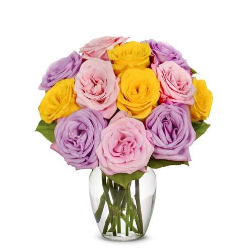 One Dozen Pastel Rose Bouquet