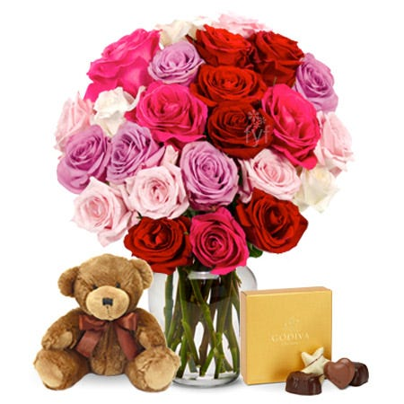 Two Dozen Sweetheart Roses with Chocolates and Teddy Bear