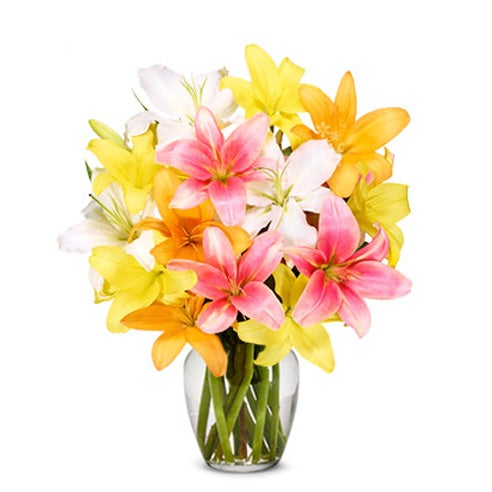 Lily delivery of a mixed lilies bouquet with pastel lilies and pastel asiatic lilies
