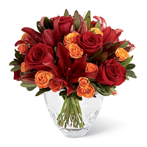 Fall arrangement of fall flowers, red roses, orange roses & cheap flowers for free flower delivery