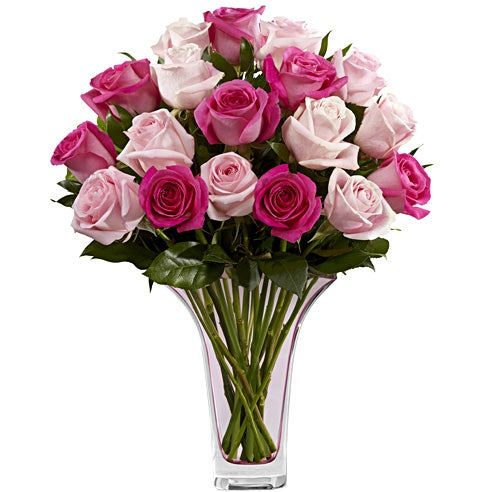 Valentine's Day bouquet delivery of long stem pink roses