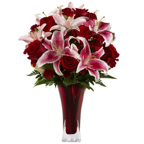 Stargazer lilies bouquet with mini carnations and stargazer lilies for delivery