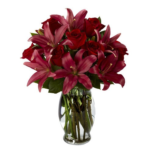 Easter flower arrangements for him maroon lily flowers image