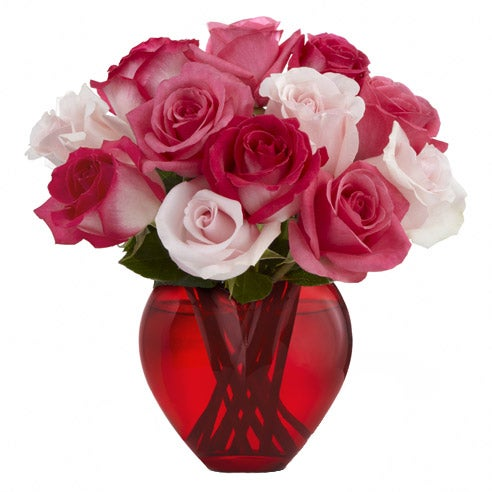Valentine's Day bouquet delivery heart shaped pink roses bouquet