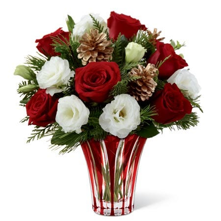 winter bouquet with red roses and white double lisianthus for same day delivery
