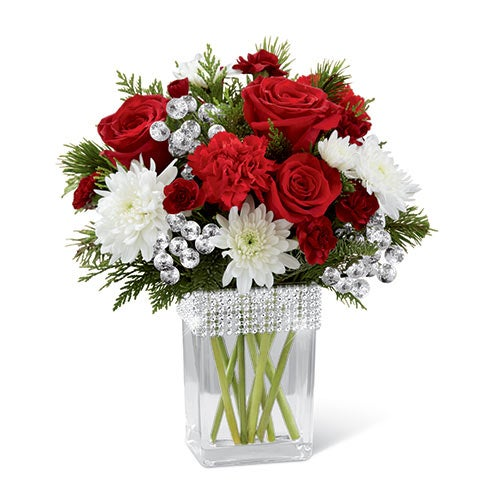 Holiday bouquet with christmas flowers, red spray roses, white chrysanthemums & cheap flowers