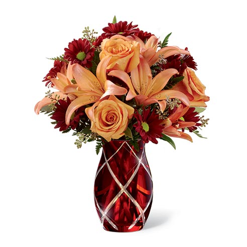 Orange lilies, orange roses and burgundy flowers for same day flower delivery