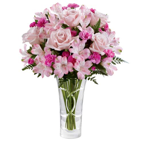 Pink roses bouquet with pink carnations and peruvian lilies at Send Flowers