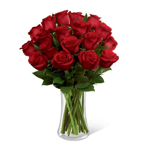 red roses arrangement with quotes about flowers