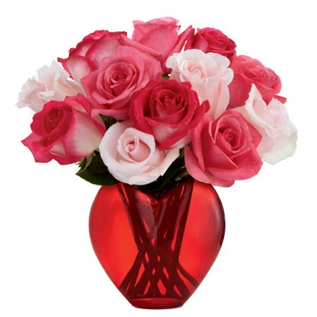 Bi-color pink roses delivered in a red heart-shaped vase for same day flower delivery