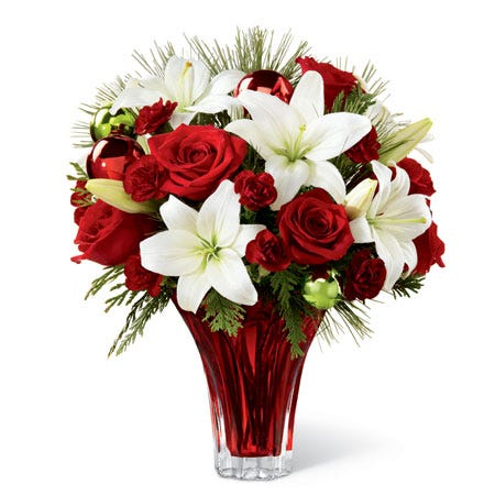 winter bouquet with white lily and red roses for same day flower delivery