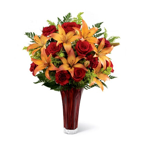 Flower delivery california available with an red rose and ornage lily bouquet