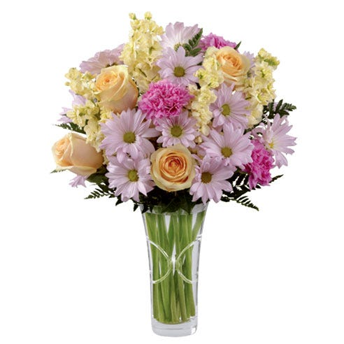 Mixed pastel lavender daisy, cream rose, hot pink carnation and stock bouquet