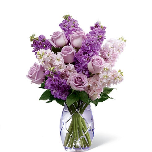 Purple roses and pink flowers