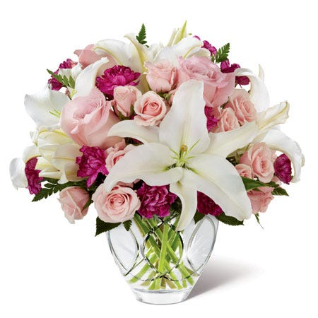 Pink roses, white lilies and light pink spray roses