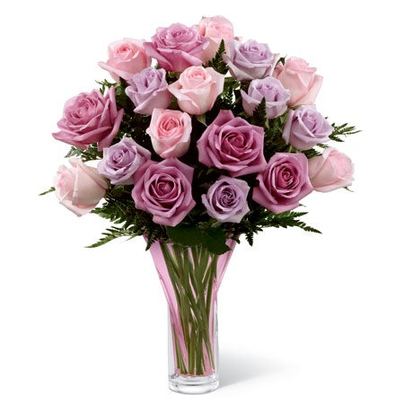Long stem lavender rose bouquet with pink roses and purple roses for sale