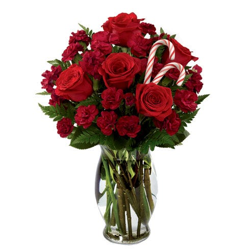 red rose delivery with candy canes in a cheap candy cane flower bouquet