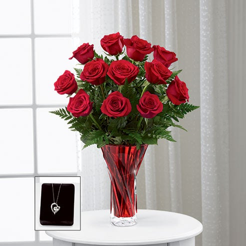 Long stem red roses delivery of flowers and jewelry