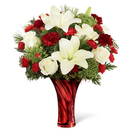 Christmas flowers and white hybrid lilies with red roses at sendflowers com