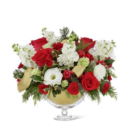 Christmas flower centerpiece with red roses, white roses and white carnations