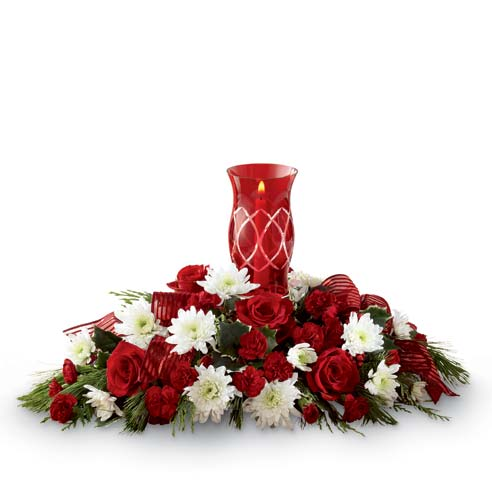 red lantern flower centerpiece for same day flower centerpiece delivery