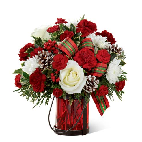 Cheap flowers delivered in a red christmas holiday bouquet with berries at send flowers