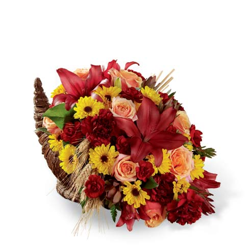 Cornucopia flower bouquet with thanksgiving flowers and burgundy lilies