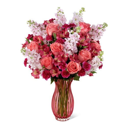 Coral flower bouquet with cheap flowers and coral roses from sendflowers