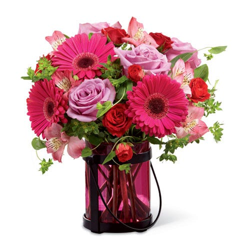 Hot pink gerbera daisy bouquet and lavender roses bouquet with pink square vase