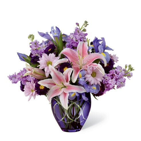 Pink Oriental lily, lavender daisy and lavender gilly light purple flower bouquet