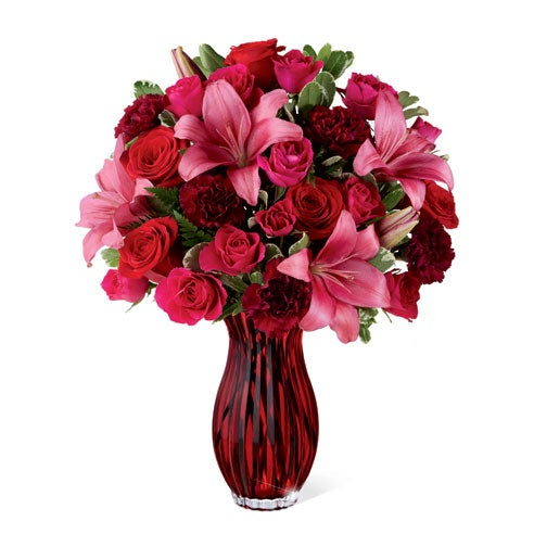 Cute valentines day gift delivery pink lilies and red roses bouquet