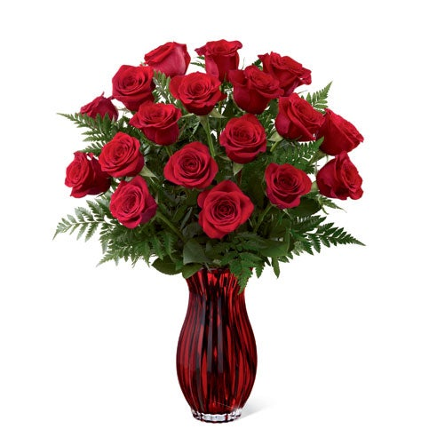 Send roses to a house with this one dozen red rose bouquet