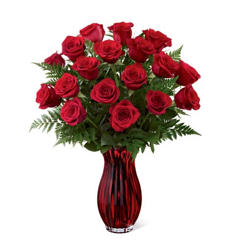 A large bouquet with long stemmed red roses