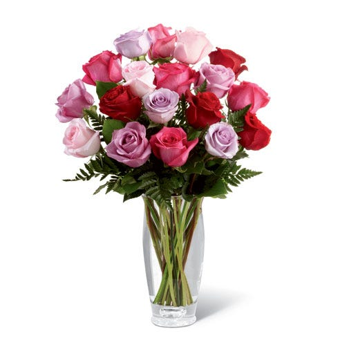 Long stem lavender, hot pink, pale pink, and red roses premium bouquet