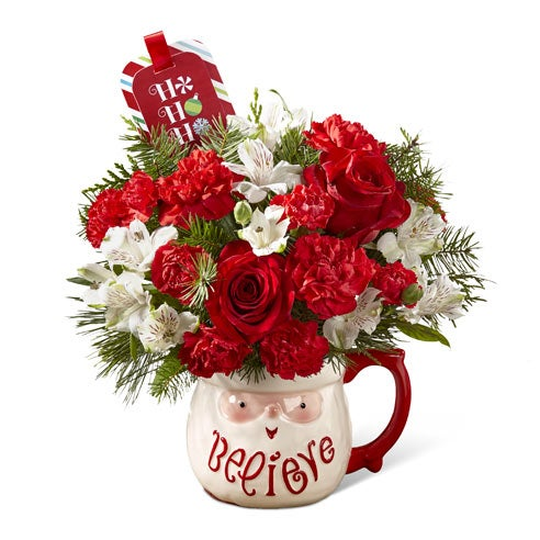 Christmas flowers delivery inside christmas santa mug from send flowers for christmas gift delivery