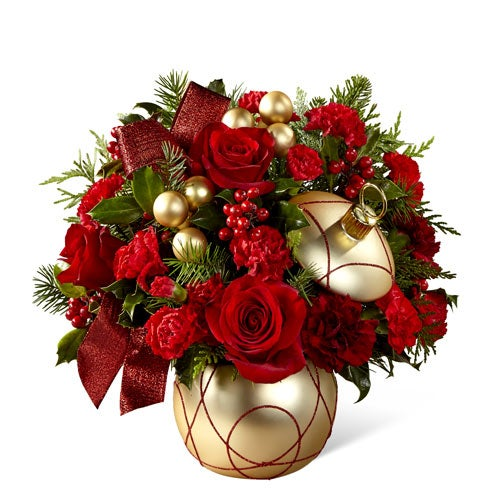 Christmas flower arrangement idea in gold ornament vase with red roses