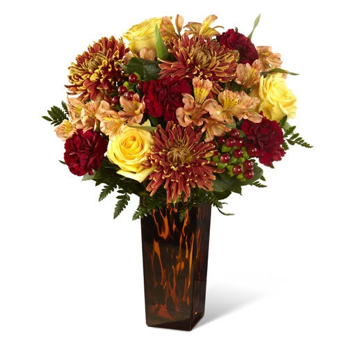 Fall flowers and cheap flowers bouquet with yellow roses & red carnations from send flowers com