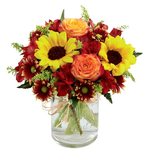 Sunflowers and orange roses bouquet with burgundy daisy and mason jar
