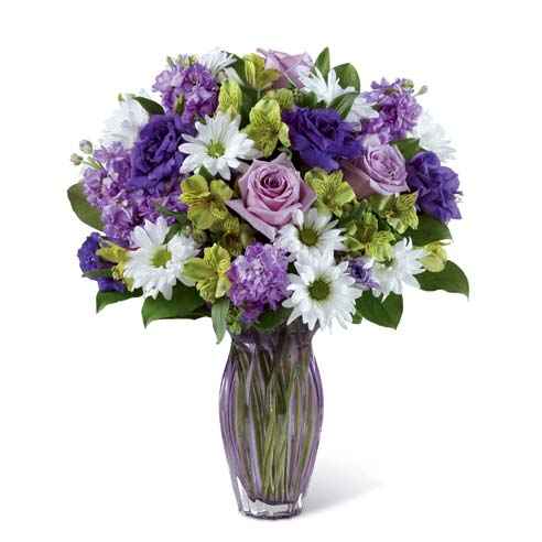 Purple roses and mixed purple carnations bouquet with lavender stock flowers