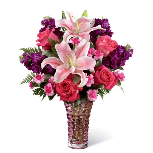 Tropical light pink stargazer lily bouquet with hot pink roses and purple stock
