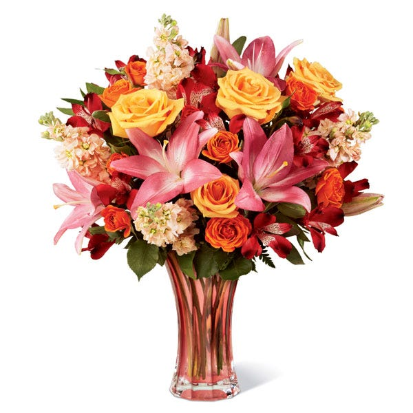 Premium peach rose and lily bouquet with orange roses and preach gilly flowers