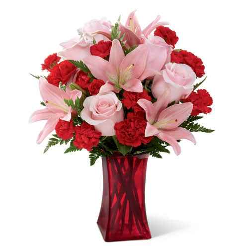Pink lily and red carnations for same day valentines day delivery from sendflowers