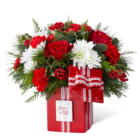 contemporary christmas flowers arrangement jesus is the gift bouquet
