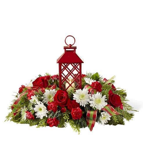 lantern centerpiece with white cushion poms, red carnations, red roses, cheap flowers for christmas flower delivery