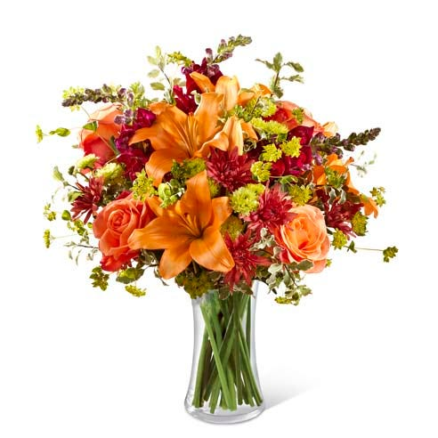 Orange lily bouquet with orange roses, brown chrysanthemums and snapdragons