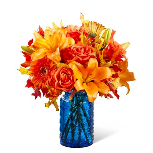 Valentine's Day bouquet delivery blue flower bouquet with orange lilies