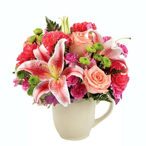 Stargazer lily bouquet and stargazer lily delivery with cheap flowers in a cup