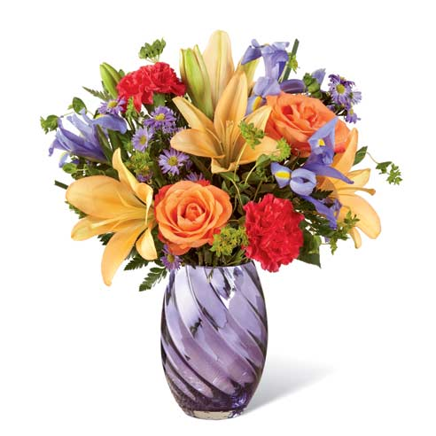 Ornage lily bouquet with lavender asters, bupleurum, and orange roses
