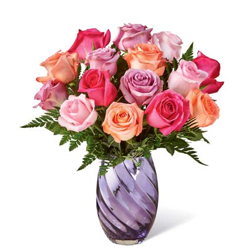 Mothers day spring bouquet with coral roses, pink roses and lavender roses
